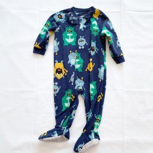 5/$25 Carter's fleece monster pajamas - 12m